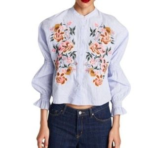 Zara Floral Striped Embroidered Top Long Sleeve XL